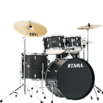 Tama IE52C ImperialStar 5pc Complete Kit (Black Oak wrap) with Stands, Pedals, Throne and Meinl Cymbal Pack.