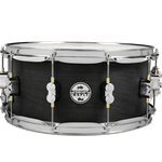 "Pacific PDSN6514BWCR Concept Maple 6.5x14"" Maple Snare in Black Wax stain finish with chrome hardware & dw MAG throw-off"