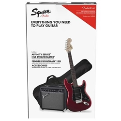 Squier 0371824009 Affinity Series Stratocaster HSS Pk, Lrl, Candy Apple Red, Gig Bag, 15G
