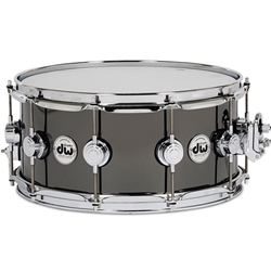 "DW DRVB6514SVC Collector's Series 6.5""X14"" Black Nickel Over Brass Snare Drum w/ Chrome Hardware"